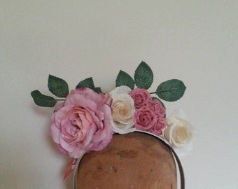 Flower Crown - Muted Pink & Ivory Fascinator