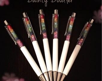 Rainbow Crystals Ballpoint Pen / Blue ink / Stationery / Office / School / Kids