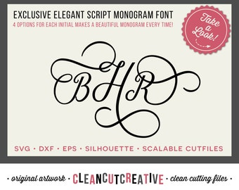 Elegant Script SVG Monogram Fonts - Studio3 Dxf Eps - Swash Wedding Anniversary monogram svg - Cricut and Silhouette - clean cutting files