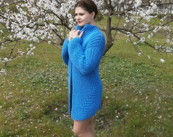 Blue serenity knitted jacket Woman jacket Non-itching yarn