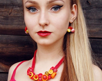 Statement necklace Free earrings Chocker  Boho necklace Short necklace Red Orange Yellow Polymer clay necklace Apophyllite gemstones Candy