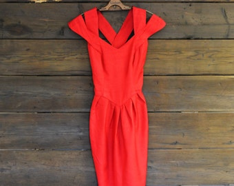 Silk Strappy Red Off the Shoulder Dress with Tulip Skirt // Small Medium