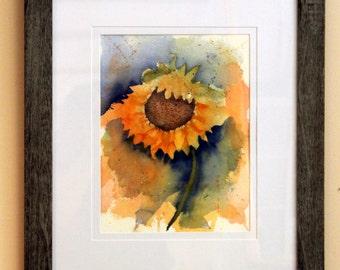 Original Sunny Sunflower Watercolor Painting, Sunflower Painting, Watercolor Sunflower
