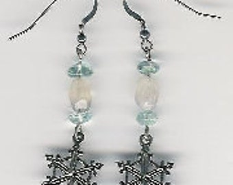 EW08005P-Earrings-Sterling Silver Snowflakes, links, & earwires with naturally aged patina, Moonstone(N), Aquamarine(D), 2.25 in.
