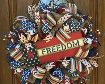 Patriotic Wreath / 4th of July Wreath Burlap / Fourth ofJuly Deco Mesh Wreath / Independence Day Wreath / Front Door Wreath