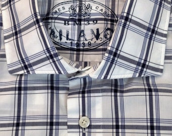 Men's shirt - vintage 1990's white with blue plaid check in 100% cotton by Boggi Milano