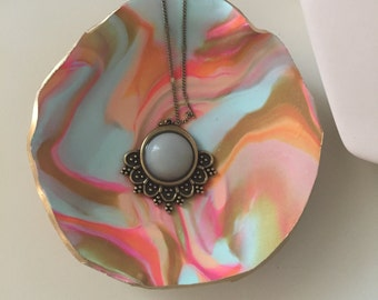 Catch all dish, marbled dish, jewelry holder, necklace holder, ring dish,  Home Decor, boho decor,