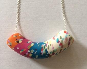 Bright colours speckle tube necklace (medium)