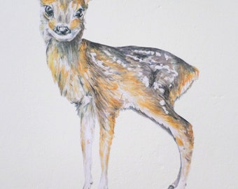 Deer wall sticker, fawn wall decal, deer home decor, woodland wall decals, wildlife decals, watercolor deer decal, fawn wall sticker