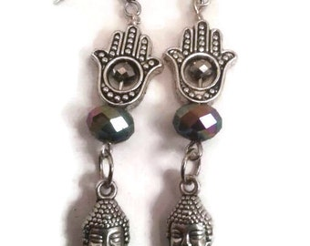 Silver Hand earrings with silver detailed hands, Buddha head and dark sparkling crystals with silver earwire