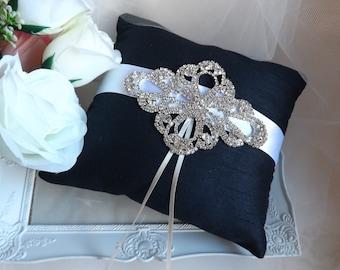 Navy Ring Pillow, Wedding Ring Pillow, Ring Bearer Pillow, Elegant Ring Pillow, Silk Ring Cushion