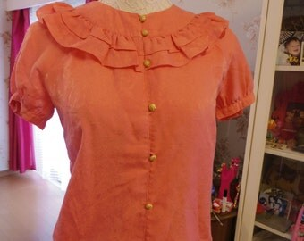 80s  // 1980's Japanese Vintage Coral Pink Puff Sleeve Blouse * Size Small