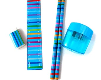 Stationery set, pencils, school set, eraser, pencil sharpener, bright stripes, blue, planner supplies, school supplies