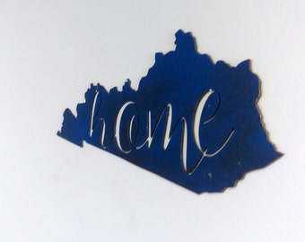 Kentucky Home Silhouette , Unique Red Blue Black or Silver Finish, #STKY101R