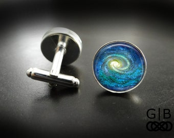 ON SALE Spiral Galaxy Cuff Links Spiral Galaxy Accessories - Spiral Galaxy Suit Cuff Links - Galaxy Nebula Cufflinks Galaxy Cuff Links Acces