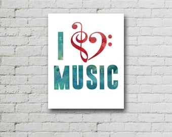 Band Poster, Band Poster, I Love Music,  Band Teacher Gift, Typographic Print, Modern Quote, Minimalist Print, Motivated Type, Printable
