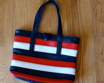 1970s Vinyl RED WHITE BLUE Handbag Purse Button Loop Closure