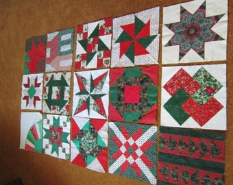 17 Red and Green Quilt Blocks 1970-1993 Fabrics