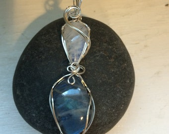 Moonstone & Labradorite Sterling Silver Wire Wrapped  Double Pendant, Metalsmith, Artisan Jewelry