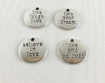 Set of 4 Word Charms, Inspirational Charms, Tibetan Silver, Antique Silver, Metal Charms, Jewelry Making, C1150