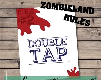 Zombieland Wall Art Print - Rule 2 Double tap, digital, download, pdf, file, 8x10, zombie, blood, spatter