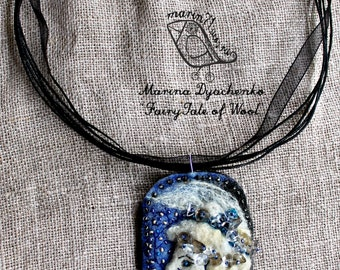 Felted pendant, Felt necklace, Felt accessory, The cameo pendant Selene Felted pendant  Boho style  Hand-made
