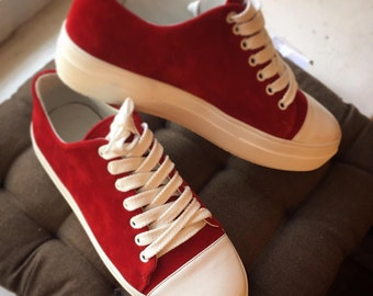 Handmade shoes casual tie sneakers