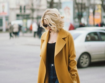 Mustard coat, wool coat, cashmere coat