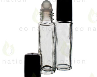Clear Glass Roll-on Vials with Glass Rollers and Black Caps (10ml)