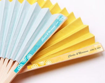 10 pcs Doily Personalized Labels with Colored Paper Hand Fans