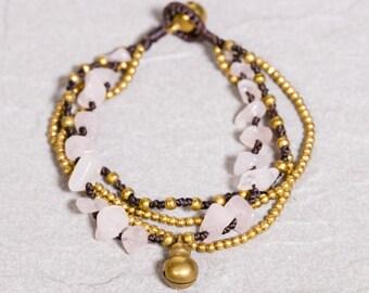 Beaded bracelet- Rose quartz  rocks and Gold bracelet-  Pink  Bracelet -B88