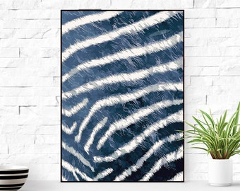 Large abstract poster, original wall art, blue art print, art printable.