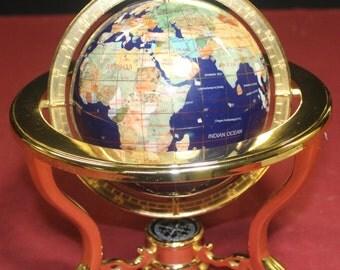 Small Gemstone World Globe with Tripod Base and Compass