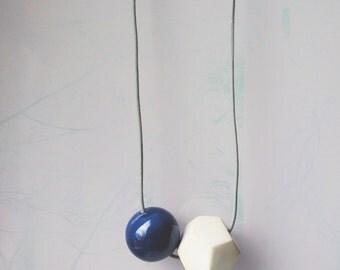 Gemetrical minimal abstract ceramic pendant necklace