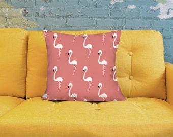 Flamingo Pillow - Retro Pillow - Pink Throw Pillow - Mid Century Pillow - Lime Pillow - Cute Pillow - Cute Throw Pillow - Tropical Pillow