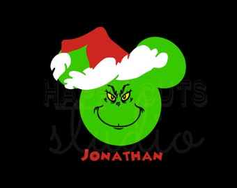 Mickey Mouse Grinch Christmas Holiday Baby's Christmas Matching Family Iron On Decal Vinyl 4 Shirt 178