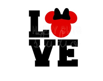 LOVE Mickey Mouse Valentine's Day Heart Hearts Matching Newlyweds Couple Honeymoon Wedding Disney Iron On Decal Vinyl for Shirt 199
