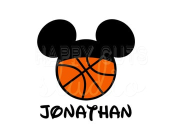 Personalized Basketball Sports Hat Mickey Mouse Disney Father's Day Son Family Matching Disney Iron On Decal Vinyl for Shirt 092
