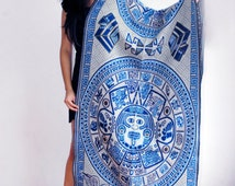 Mexican Rebozo with Aztec Calendar Mexican Shawl  Beautiful Scarf | Mexican Table Runner | Bed Runner | Mexican Fabric