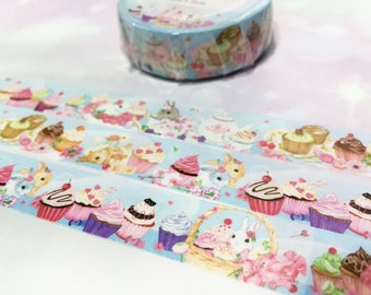 cute Rabbit washi tape 10M x 1.5cm bunny cupcake party masking tape manet farm rabbit flower rabbit sticker tape rabbit planner sticker gift