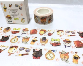cool cat washi tape 10M x 2cm cute cat black cat washi tape mr detective decor sticker tape kawaii cat cool stuff tape diary scrapbook gift
