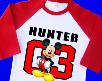 Mickey Mouse Birthday Shirt. Personalized Raglan with Name and Age. 1st 2nd 3rd 4th 5th 6th 7th 8th 9th Birthday T Shirt. (35001)