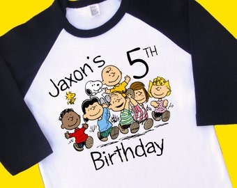Peanuts Gang, Charlie Brown Birthday Shirt. Personalized Raglan with Name and Age. 1st 2nd 3rd 4th 5th 6th 7th 8th Birthday T Shirt (35071)