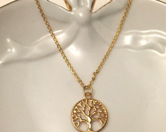 Tree of Life Necklace, Gold Tree Necklace, Gold Tree of Life, Tree of Life Charm Necklace, Gold Charm Necklace, Best Friend Gift