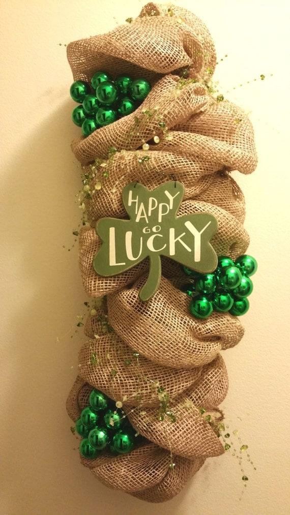 Green St Patrick's Day Wreath Shamrock Tinsel Front Door  |Ireland Door Decorations