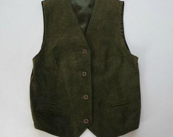 Vintage Women's Green Leather Vest, Green Suede Vest,  Size M