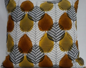 "Mid century 1950's/60's Autumn Leaves Barkcloth  16"" x 16"" Pillow/Cushion Cover"