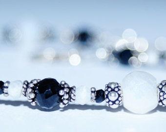Corundum, Black Spiral and Sterling Silver Bracelet