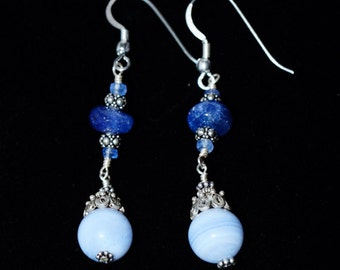 Tanzanite, Blue Lace Agate and Sterling Silver Earrings