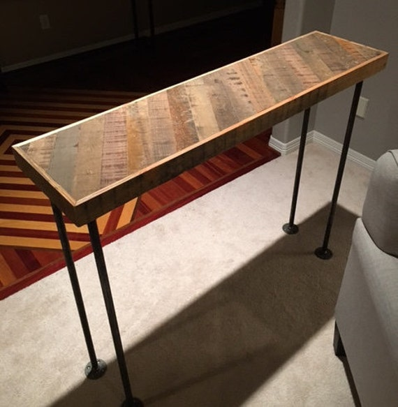 reclaimed wood thin strip console table by snowfiredesign. Black Bedroom Furniture Sets. Home Design Ideas